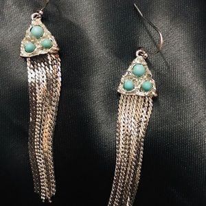 Sterling Silver Torquoise/ Crystal Fringe Earry